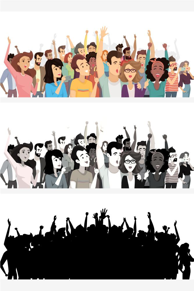 Clipart of group of yelling screaming man or woman picture transparent stock Crowd of happy people poster, banner with crowd takin… | Flat style ... picture transparent stock
