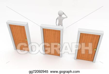Clipart of guy going through three doors picture free stock Drawing - Make a decision. Clipart Drawing gg72092945 - GoGraph picture free stock