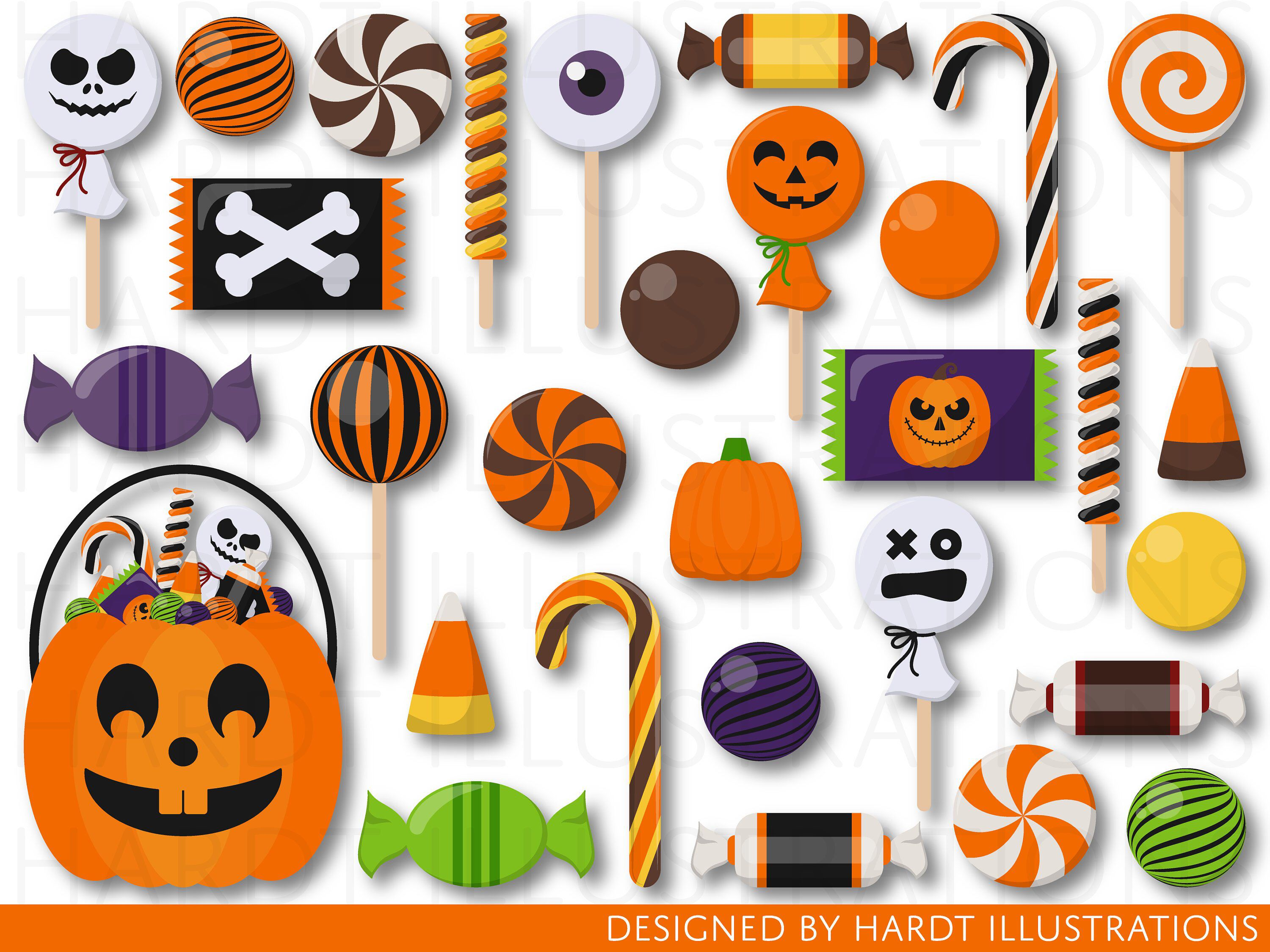 Clipart of halloween candy clip art freeuse library Halloween Candy Clipart, Candies Clipart, Trick or Treat Clipart ... clip art freeuse library