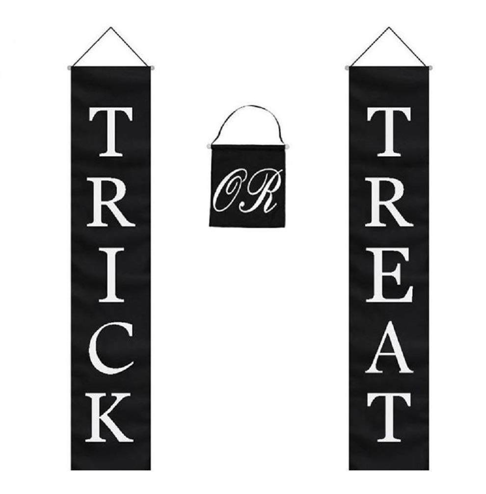 Clipart of hanging banner black and white image royalty free library Trick or Treat Halloween Banner 3-Pc Set Home or Office Decor Ready To Hang image royalty free library