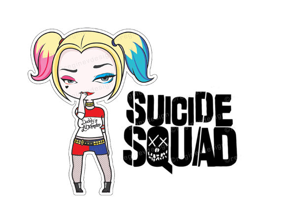 Clipart of harley quinn image royalty free library Harley Quinn Suicide Squad Sticker Clipart Illustration image royalty free library