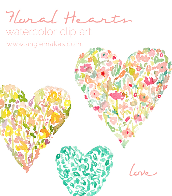 Clipart of hearts and flowers vector stock Floral Watercolor Hearts Watercolor Clip Art vector stock