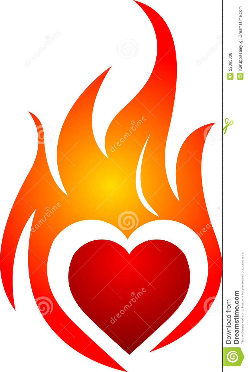 Clipart of hearts with flames