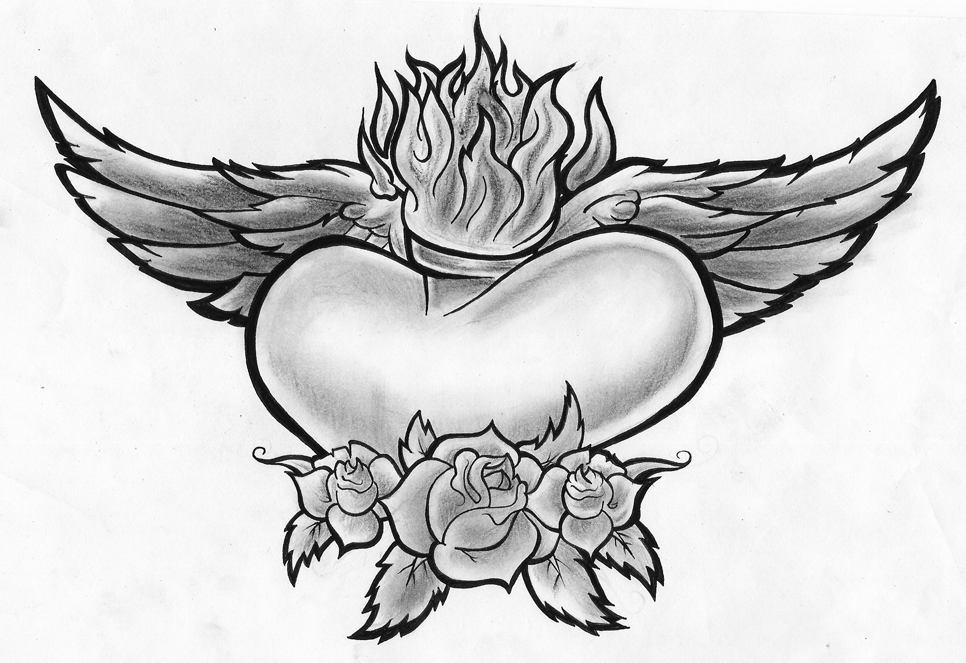 Clipart of hearts with wings and roses banner transparent Pencil Drawings Of Hearts With Wings And Banners | Free Download ... banner transparent