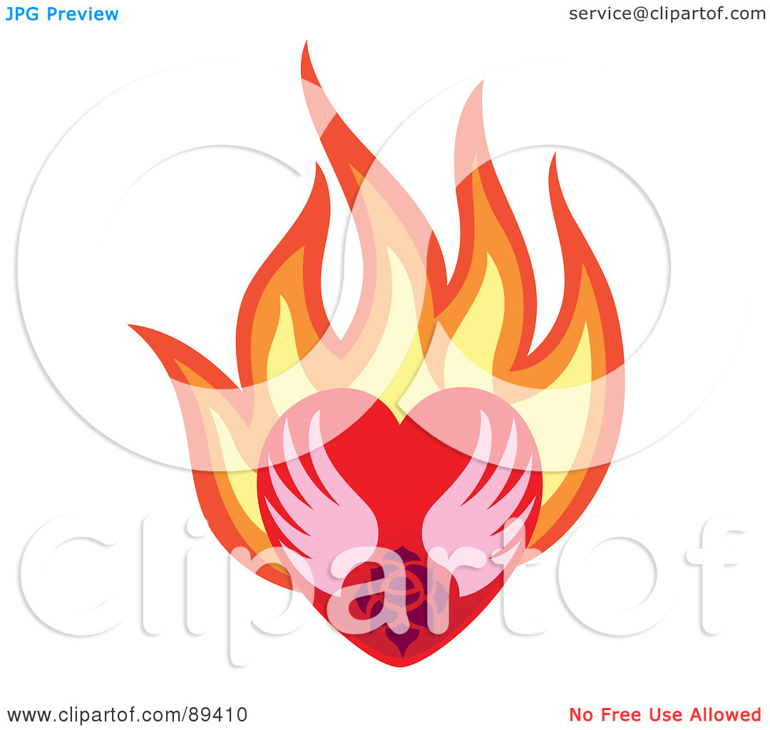 Clipart of hearts with wings and roses png royalty free library Royalty-Free (RF) Clipart Illustration of a Rose And Wings In A ... png royalty free library