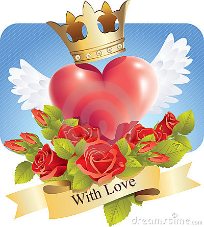 Clipart of hearts with wings and roses graphic royalty free library Heart With Wings And Roses Stock Image - Image: 6478741 graphic royalty free library