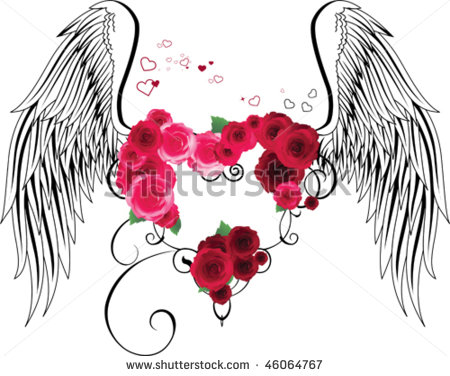Clipart of hearts with wings and roses jpg free library Clipart of hearts with wings and roses - ClipartFest jpg free library