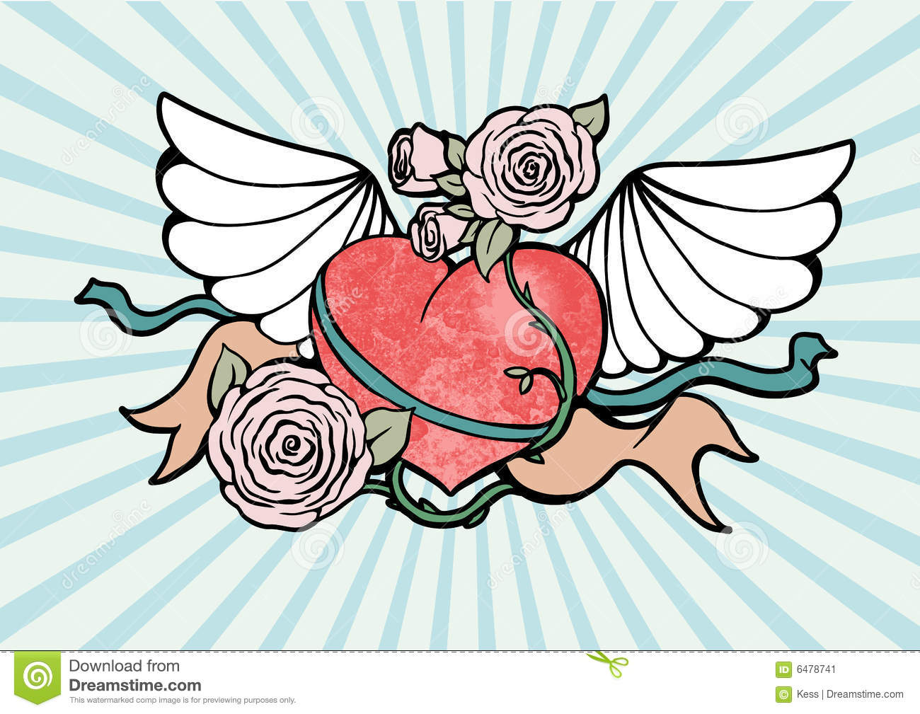 Clipart of hearts with wings and roses picture freeuse download Heart With Wings And Roses Stock Image - Image: 6478741 picture freeuse download