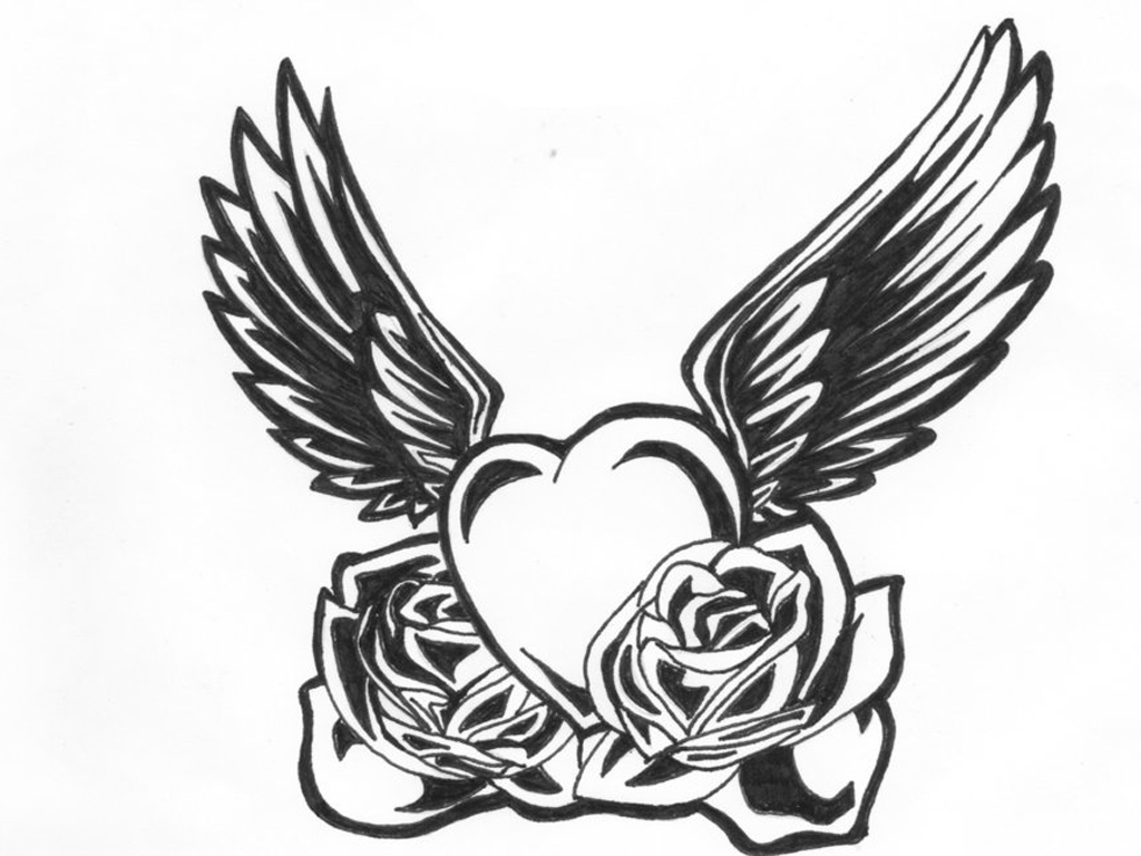 Clipart of hearts with wings and roses graphic black and white download Pencil Drawings Of Hearts With Wings And Banners | Free Download ... graphic black and white download
