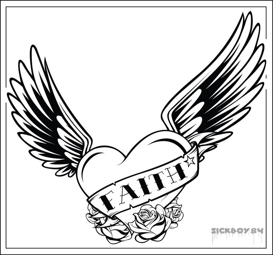 Clipart of hearts with wings and roses image royalty free download hearts with wings coloring pages cliparts co. easy heart with ... image royalty free download