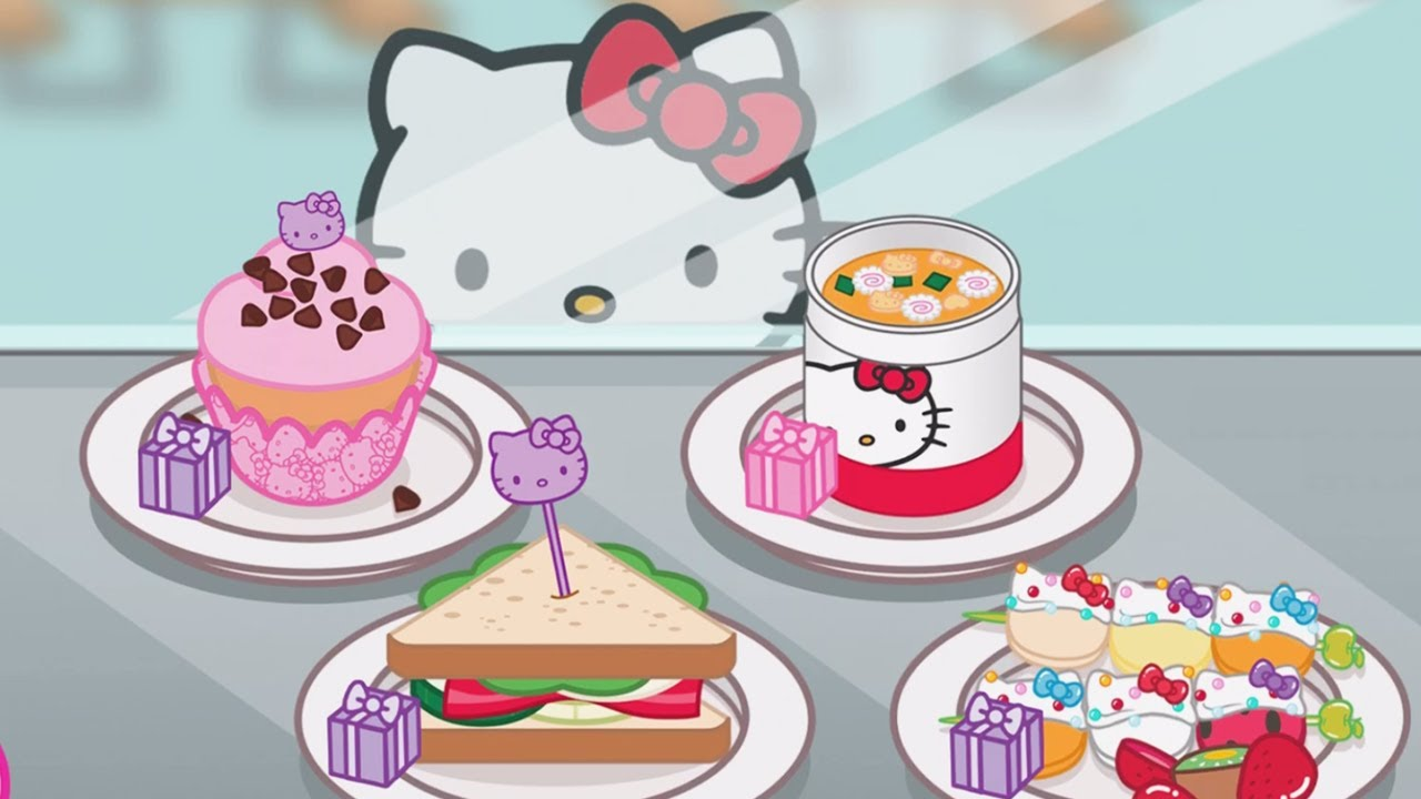 Clipart of hello kitty baking in the kitchen svg stock Kids Learn Cooking With Kitty - Hello Kitty Lunchbox   Children Play Fun  Kitchen Kids Game svg stock