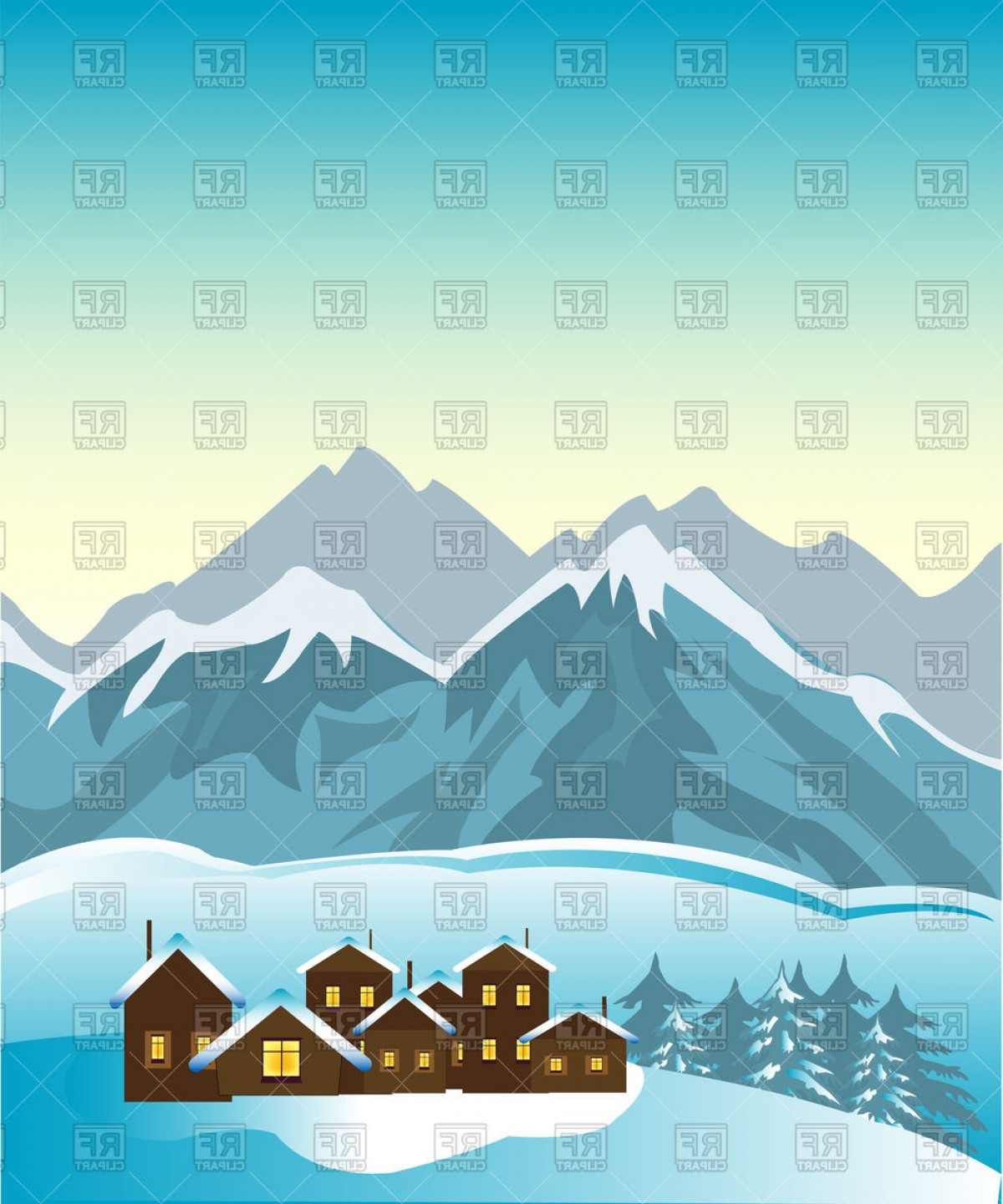 Clipart of high mountain ranges svg Small Village Beside Foots Of The High Mountains Ski Resort Vector ... svg