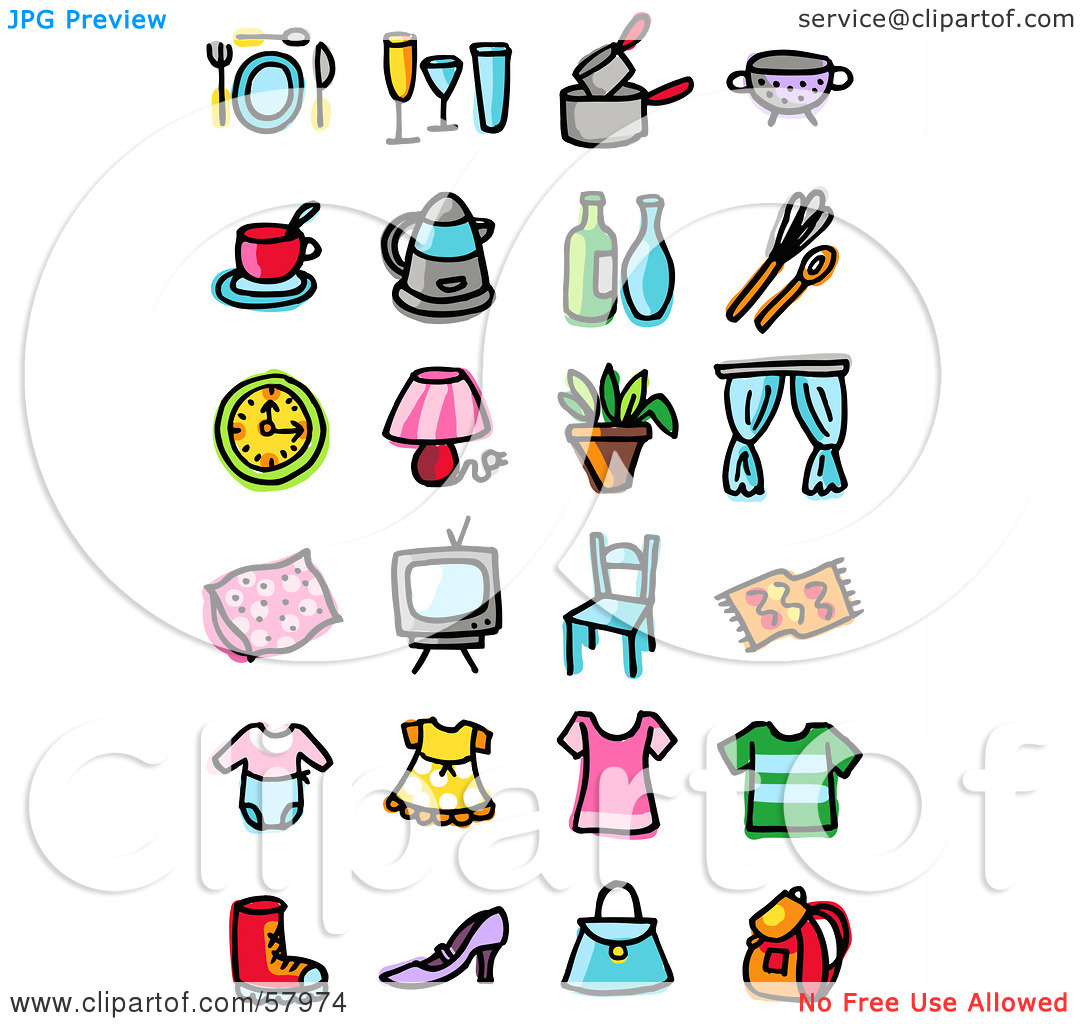 Clipart of household items