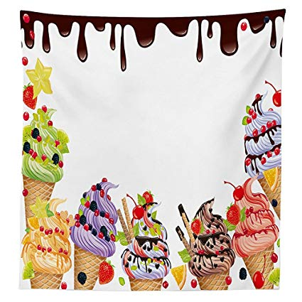 Clipart of ice cream freezer with tablecloth image royalty free library Amazon.com: vipsung Sweet Decor Tablecloth Ice Cream Background with ... image royalty free library