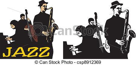 Clipart of jazz logo svg transparent EPS Vectors of jazz band - old school - jazz musicians, jazz ... svg transparent