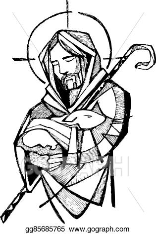 Clipart of jesus christ as a shepherd svg black and white stock Vector Clipart - Jesus good shepherd. Vector Illustration gg85685765 ... svg black and white stock