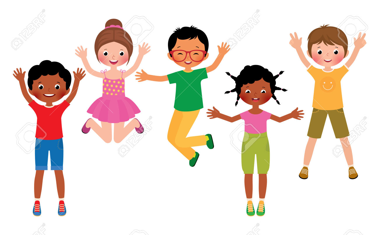 Clipart of kids jumping vector freeuse stock Excited Kids Clipart   Free download best Excited Kids Clipart on ... vector freeuse stock