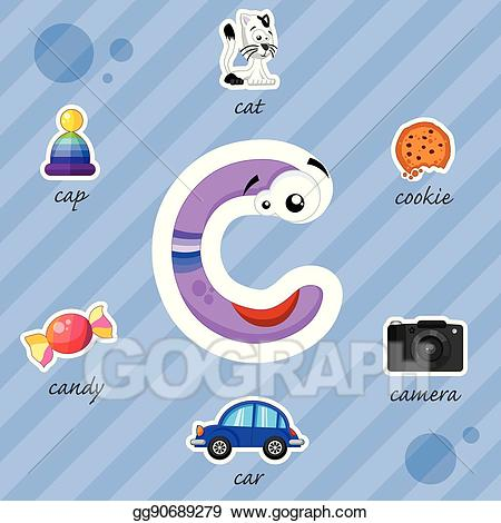 Clipart of letter s words graphic freeuse stock Clip Art Vector - Letter c with words. Stock EPS gg90689279 - GoGraph graphic freeuse stock