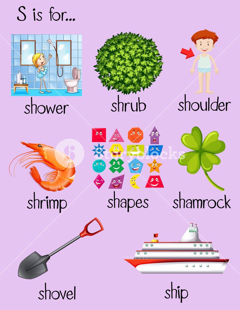 Clipart of letter s words image library stock Poster with words begin with letter S illustration Royalty-Free ... image library stock