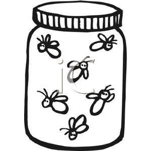 Clipart of lightning bug black and white graphic library download Black and White Fireflies In A Jar - Royalty Free Clipart Picture ... graphic library download