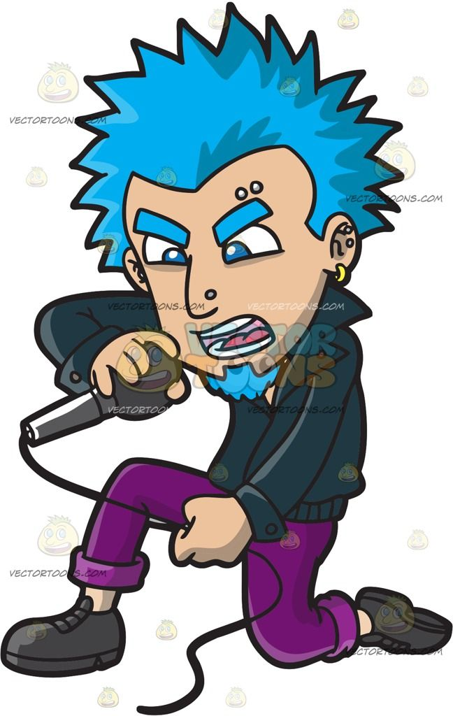 Clipart of little boy with blonde spiked hair image freeuse download A Punk Rock Singer With Blue Hair : A man with spiky blue hair and ... image freeuse download