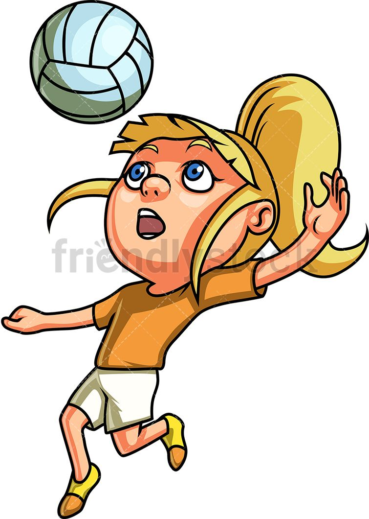 Clipart of little boy with blonde spiked hair jpg royalty free stock Little Girl Playing Volleyball | sports clip art | Kids playing ... jpg royalty free stock