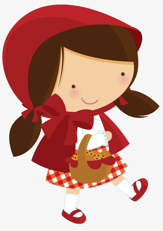Hand Painted Cartoon Little Red Riding Hood, Cartoon Clipart ... png black and white download