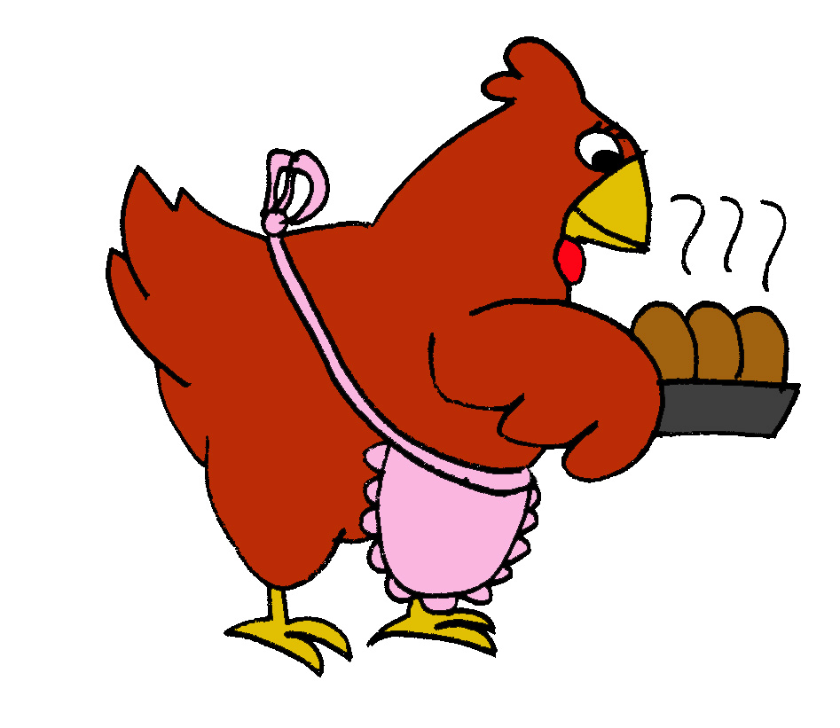 Clipart of little red stick people at customer service desk. Speech where the hen