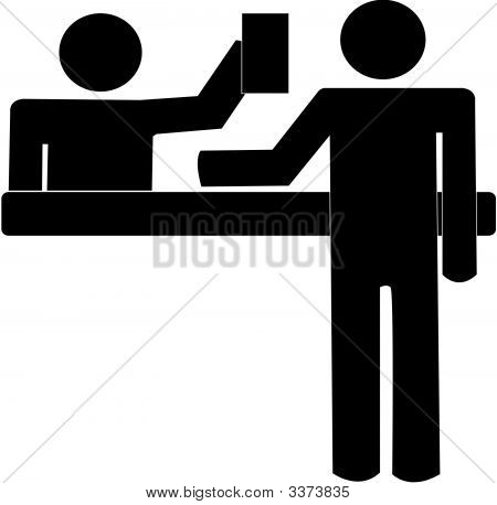 Clipart of little red stick people at customer service desk picture black and white Stick Figure Images, Stock Photos & Illustrations | Bigstock picture black and white