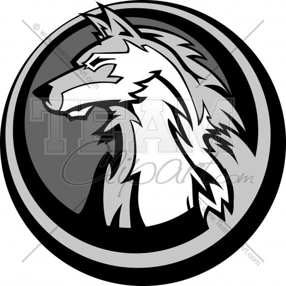 Wolf surrounded by circle. Clipart of logo