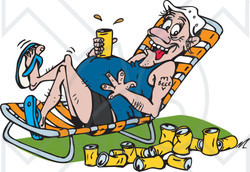 Clipart of man in lawn chair drinking beer graphic freeuse stock Clipart Illustration of a Drunk Man Resting Drink On His Beer Belly ... graphic freeuse stock