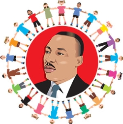 Clipart of martin luther king jr in a circle clipart black and white Martin Luther King Jr. Day - NO SCHOOL   Early Learning Academy clipart black and white