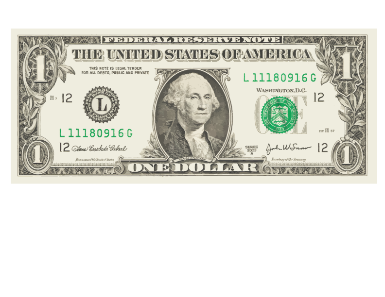 Clipart of money bills vector free library United States one-dollar bill United States Dollar United States one ... vector free library