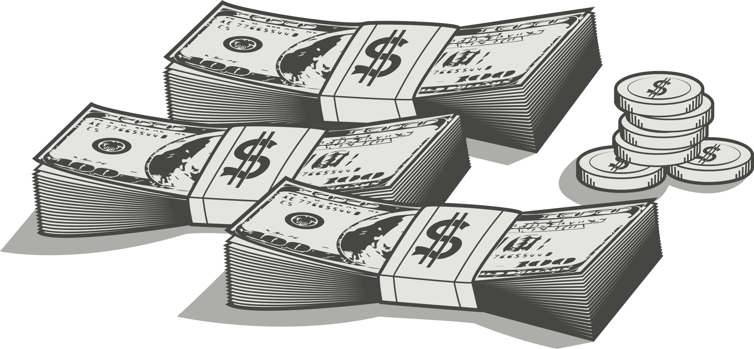 Clipart of money bills graphic black and white stock Clipart - Money graphic black and white stock