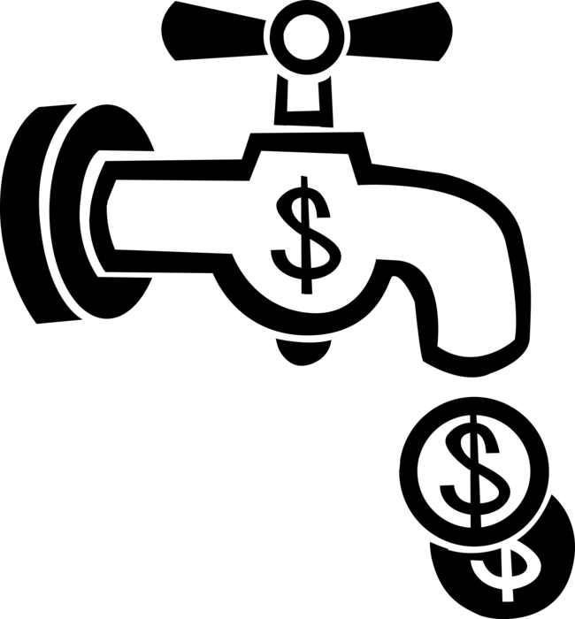 Clipart of money going down the drain picture black and white library Flushing Everything Down Drain - Vector Image picture black and white library