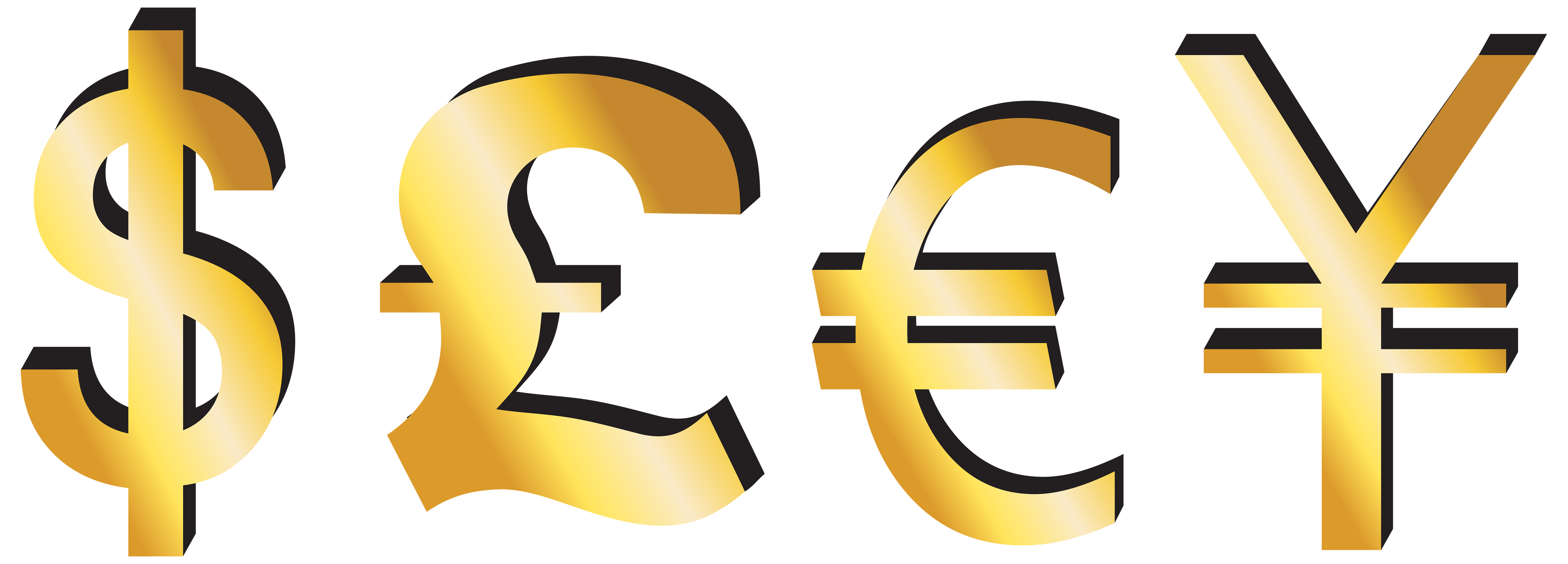 Dollar Pound Euro Yen Signs PNG Clipart - Best WEB Clipart graphic free library