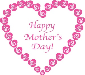 Clipart of mothers day hearts image black and white stock Mothers Day Clipart Image - Clip art Illustration of a Happy ... image black and white stock