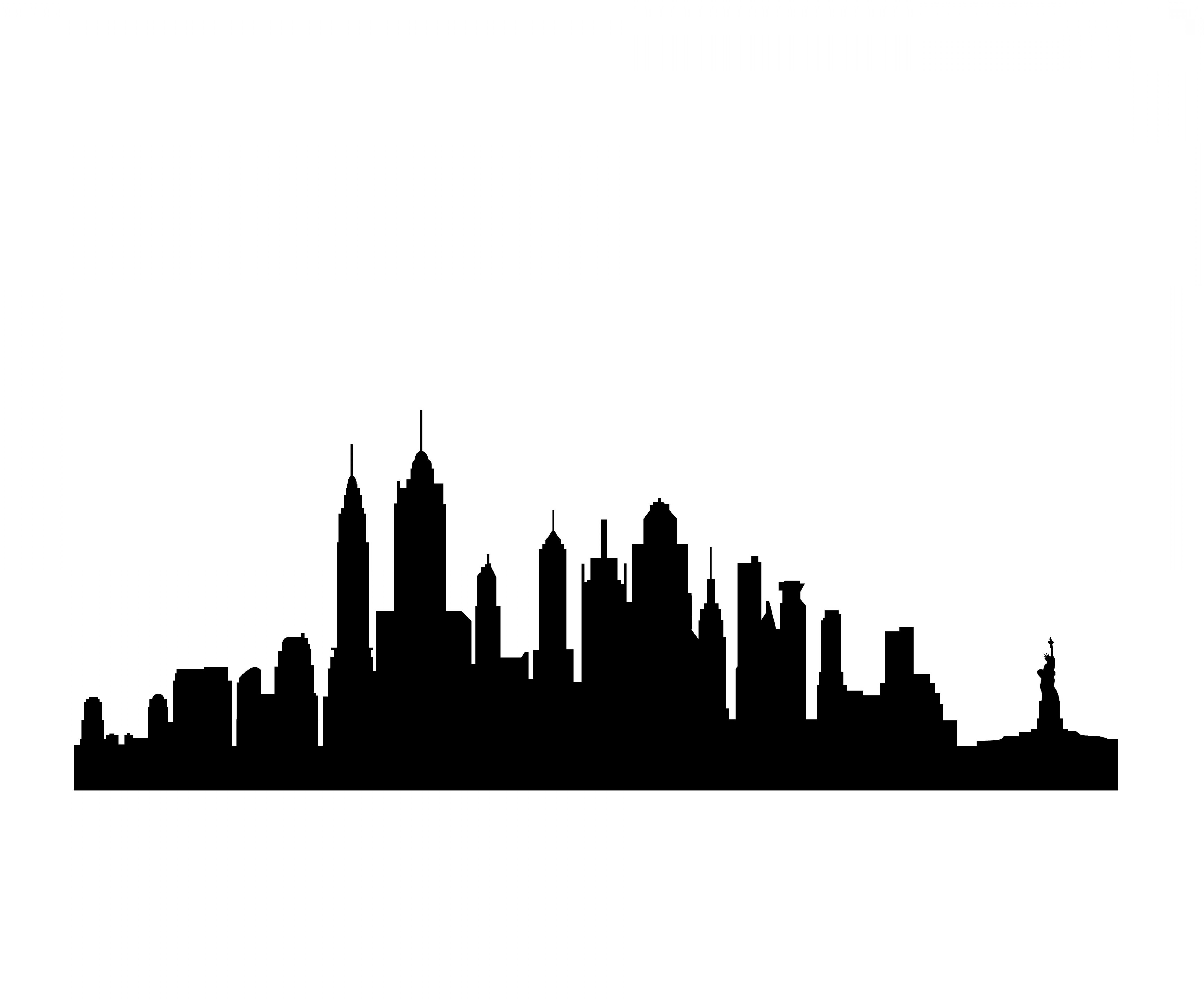 Manhattan skyline black and white clipart vintage