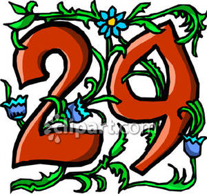 Clipart of number 29 red svg transparent Number 29 With Blue Flowers - Royalty Free Clipart Picture svg transparent