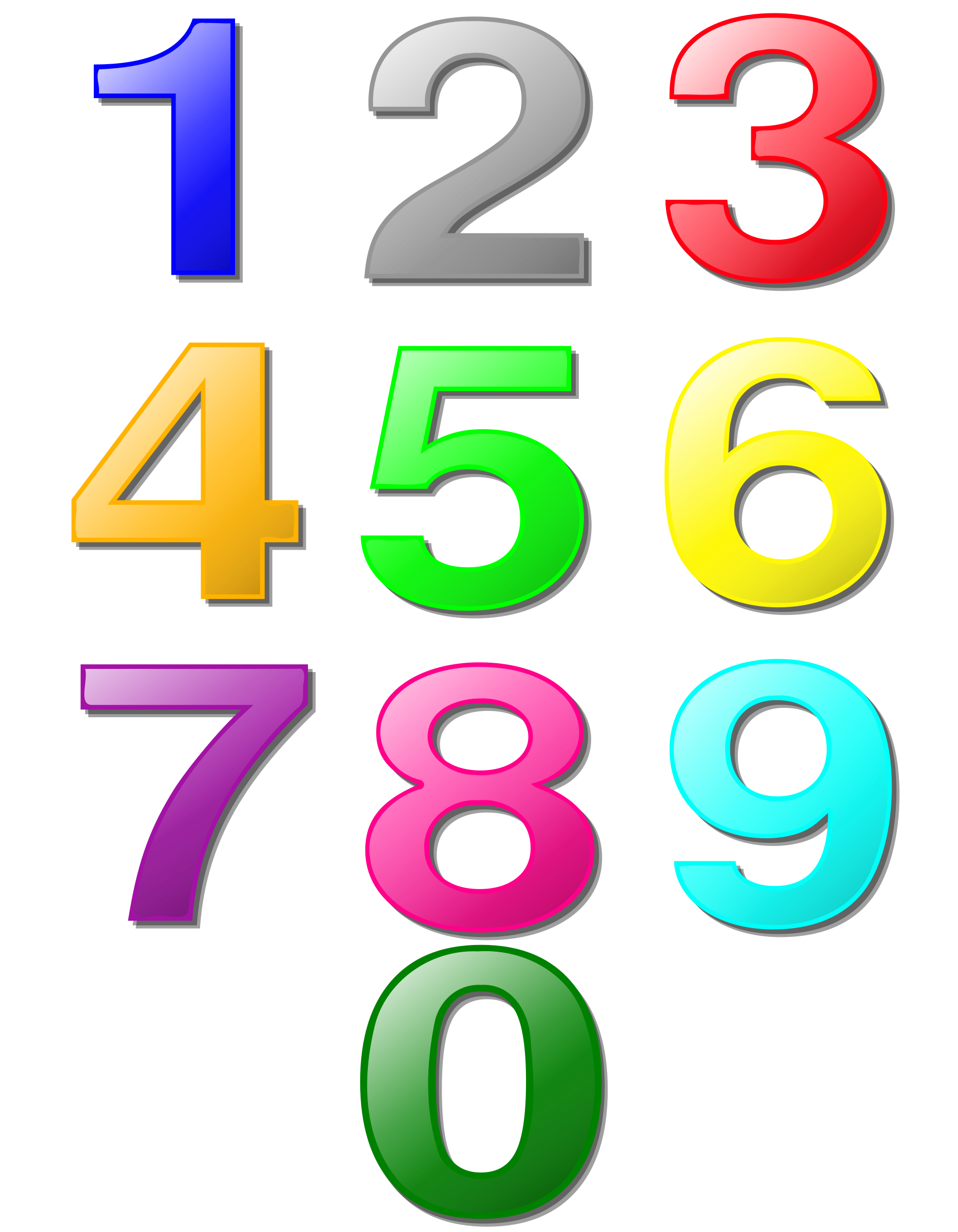 Clipart of numbers 1 10 picture transparent download Clipart - Game marbles - digits picture transparent download