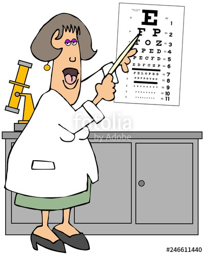 Clipart of of someone pointing to their eye clipart library library Female eye doctor pointing to an eye chart\