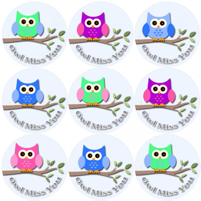 Clipart of owl saying i ll miss you clip art freeuse library 144 Owl Miss You - End of Term Year School Leavers Teacher Reward Stickers  Size 30 mm clip art freeuse library