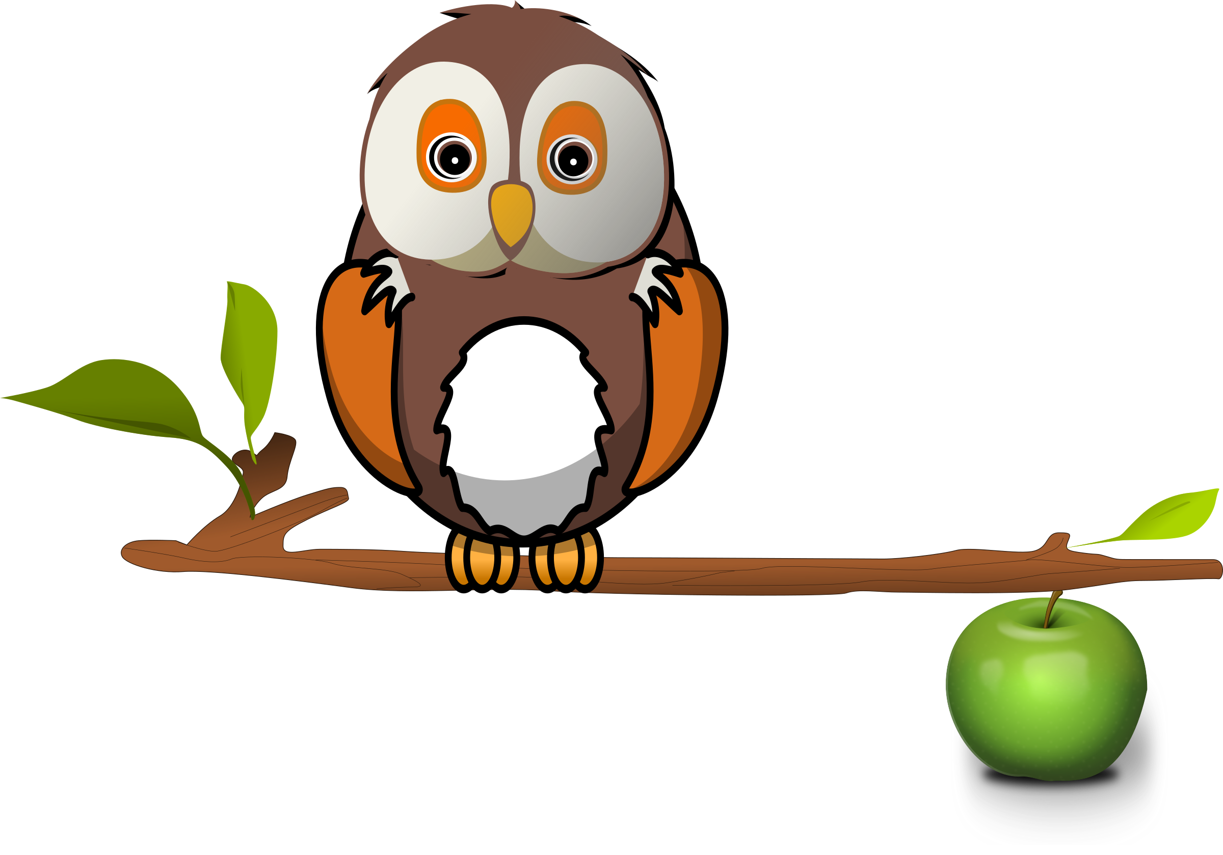 Clipart of owl with apple clipart royalty free library Clipart - Owl on branch clipart royalty free library