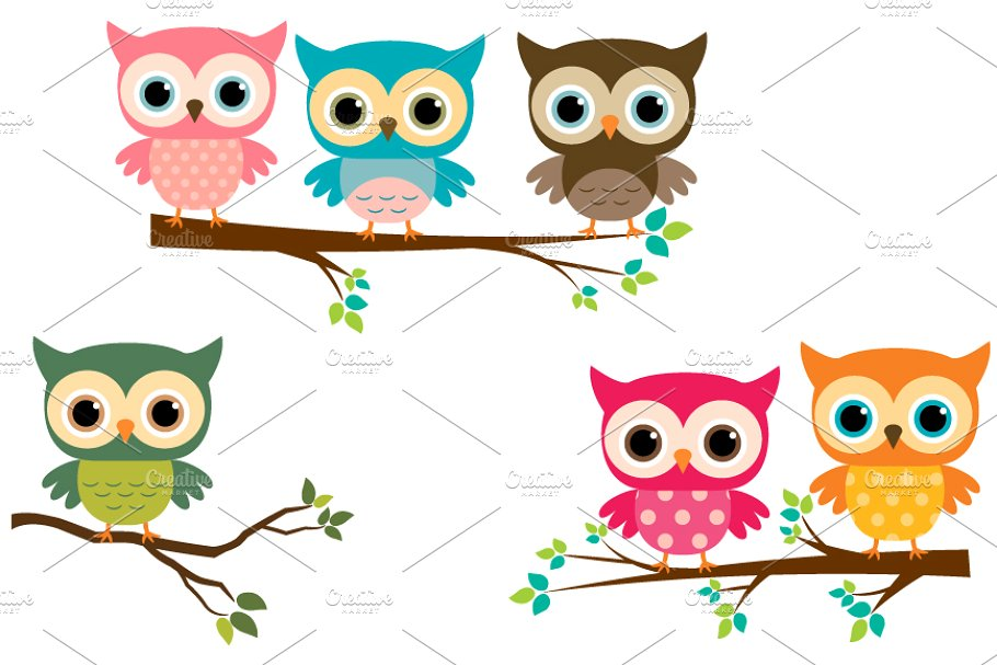 Owls on a branch clipart clip art freeuse stock Cute owls with branches clip art clip art freeuse stock