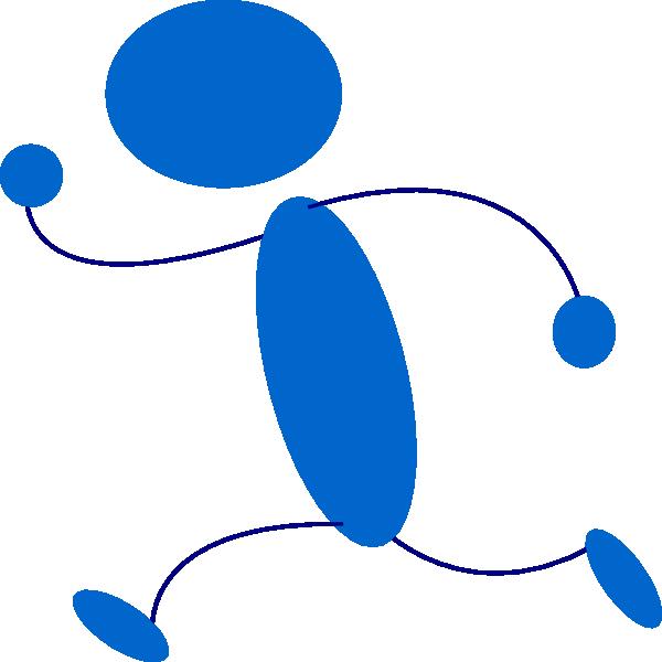 Clipart active 2 clip free library Running Blue Stick Man Clip Art at Clker.com - vector clip art ... clip free library