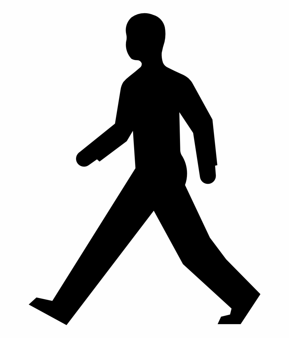 Fitness walking clipart vector black and white stock Walking Man Silhouette - Man Walking Clipart, Transparent Png ... vector black and white stock