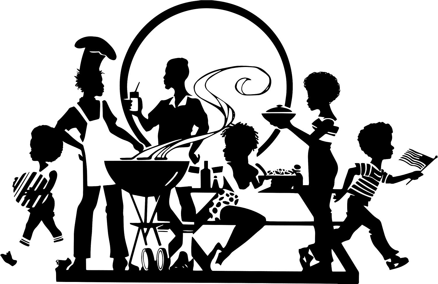 Clipart of people with disabilities having a picnic banner black and white download Amazon.com: EvelynDavid Black Family Picnic Barbecue Having Fun Afro ... banner black and white download
