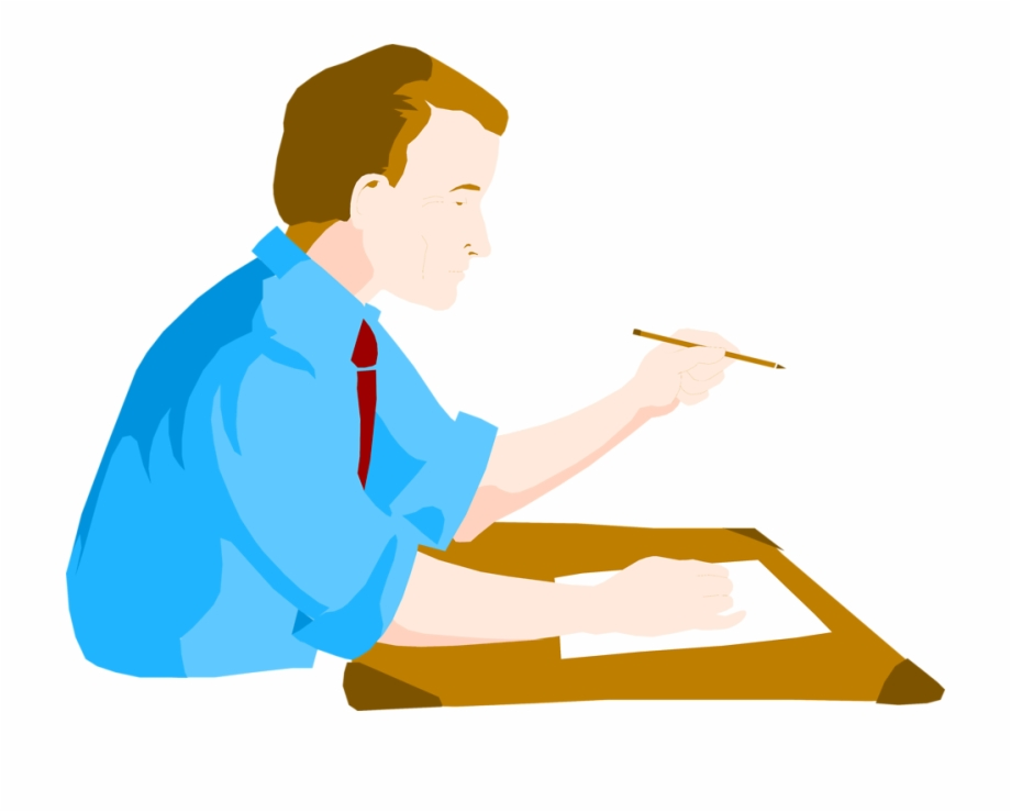 Clipart of people writing clipart black and white Desk Clipart Man - Man Writing At Desk Clipart | Transparent PNG ... clipart black and white