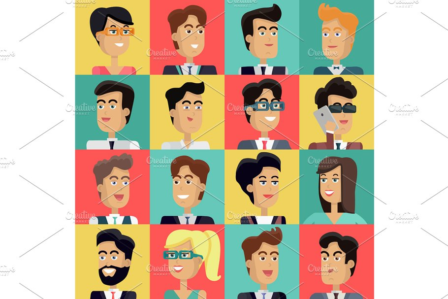 Clipart of people-s faces freeuse library Set of Peoples Faces freeuse library