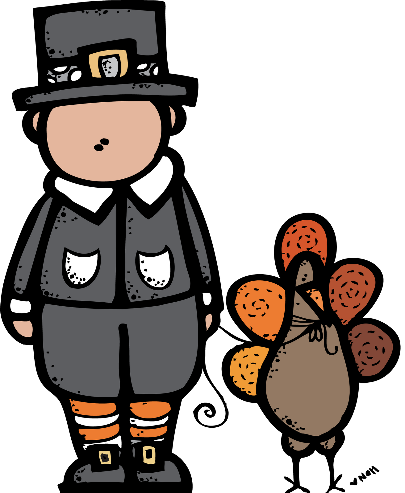 Thanksgiving cute clipart turkey with pilgrim clip art black and white download MelonHeadz: Happy Thanksgiving! :) clip art black and white download